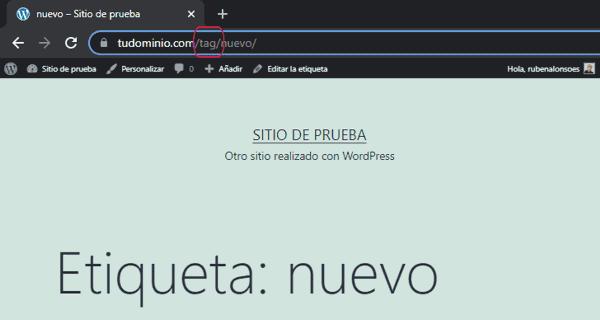 Tag en la URL de etiquetas de WordPress
